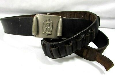 Men's Eagle & Bullet Belt Buckle And 22 Ammo Leather Belt 1940s VTG Hunting RARE