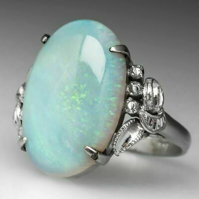 925 Silver Man Woman White Fire Opal Moon Stone Engagement Wedding Ring Size6-10