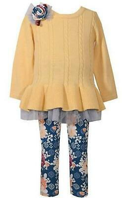 """NEW Bonnie Jean Girls """"YELLOW CABLE & NAVY FLORAL"""" Size 2T Sweater Top Pant NWT"""