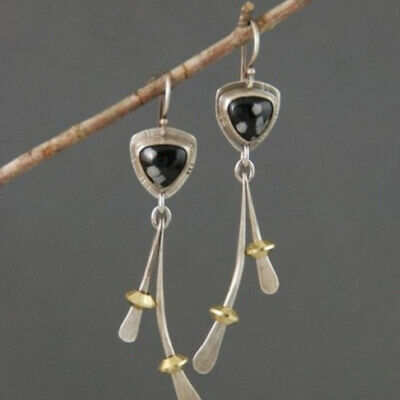 925 Silver Jewelry Earrings Women's Natural Stone Dangle Hook Eardrop Gift