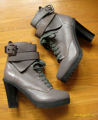 11cdbce117 Sexiest KELSI GIRL $150 Deeva Grey Leather BUCKLE Ankle Boots Shoes ~ 7