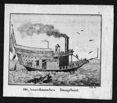 1830 - Dampfboot Steam Launch Schiff ship Lithographie Lithograph