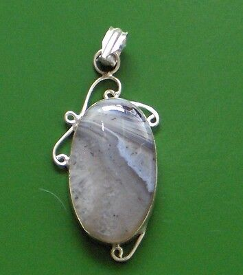 "Natural Botswana Lace Agate 925 Silver Plated Pendant 2"" soft and lovely!!"
