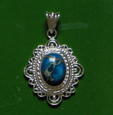"""Ornate Turquoise 925 Silver Plated 2"""" Drop Pendant, Elegant And Lovely!"""