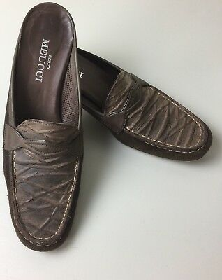 27cbd11f75a Sesto Meucci Womens Size 7.5 M Loafers Brown Leather Suede Slip on Mule  Shoes