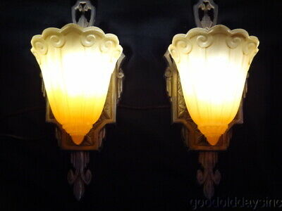 1920s Chicago Art Deco Bungalow - Pair of Slip Shade Sconces - Lincoln Lighting
