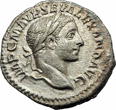 SEVERUS ALEXANDER 222AD Authentic Ancient Silver Roman Coin Victory Nike i76924