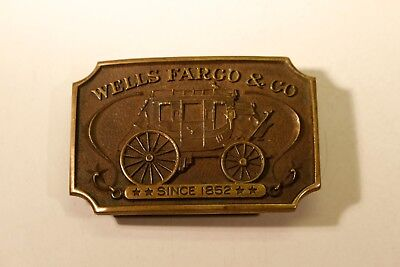 Vintage WELLS FARGO & CO. (Belt Buckle, Solid Brass, 1973) LX211