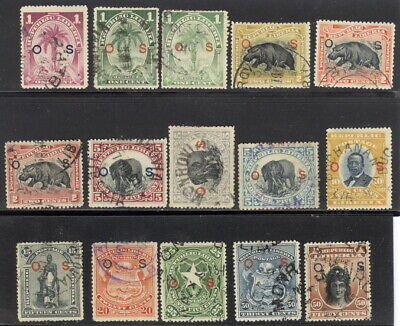 Liberia 1898-1905 official complete set used #O28-42 WATERLOW,hippo,elephant