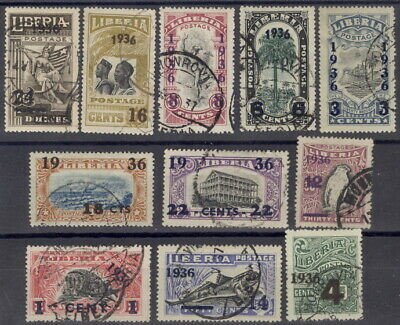 Liberia 1936, overprint set of 11, POSTMARKED, rare thus $$ #248-58 fish, bird