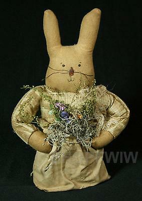 Artist-Made Primitive Girl Bunny Rabbit With Apron And Dried Flowers