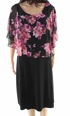 931fe46e Connected Apparel NEW Black Womens 16 Floral Print Popover Sheath Dress $80  #518
