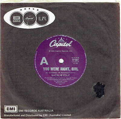"Natalie Cole - You Were Right, Girl - 7"" 45 Vinyl Record - 1981"