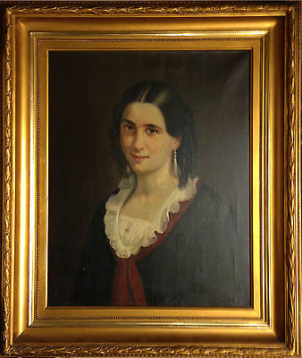 PORTRAIT OF A YOUNG NOBLE WOMAN. Fine old oil painting