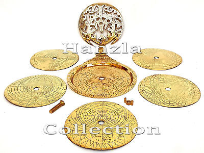 "Vintage Shiny Brass Astrolabe 5"" Arabic Globe Navigation Astrological Calendar"
