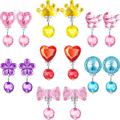 Hicarer 7 Pairs Crystal Clip on Earrings Girls Princess Jewelry Earring and...