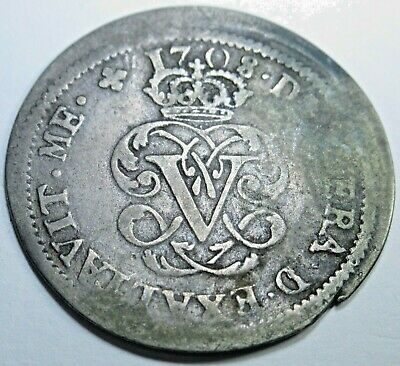 1708 Spanish Silver 2 Reales Piece of 8 Real Colonial Era Two Bits Pirate Coin