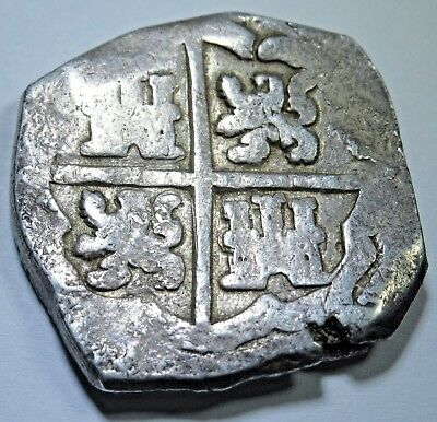 1500s-1600s Spanish Silver 8 Reales Eight Real Colonial Pirate Cob Treasure Coin