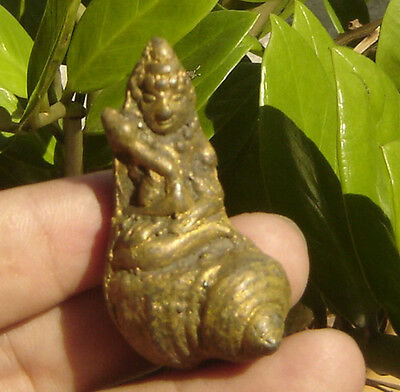 "Small high Bronze statue buddha On shell ""Phra Upha Kut"" Amulet"