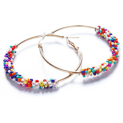 Cool Big Circle Loop Earring Round Mixed Color Ear Hoop Woman Jewelry D