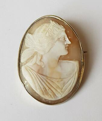 Antique Victorian Solid Silver Shell Cameo Brooch