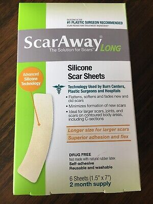 ScarAway Long Strip 1.5 X 7 Silicone Sheet 2 Month Supply C Section Knee 11/2021