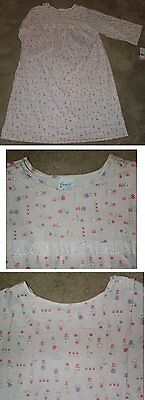 Hospital / Nursing / Convalescent Home Gown Pink Print Soft Knit Opens in Back