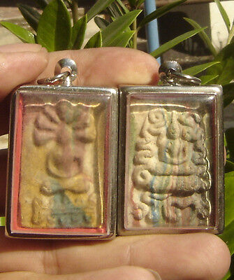 Rainbow 2Pendant Old fired clay  Pra Somdaj  Amulet Thai Saint
