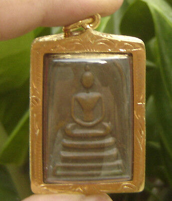 "Locket tablet bronze ""Somdaj Prom""Wat Chongcare Temple  Thai Saint& famous Monk"