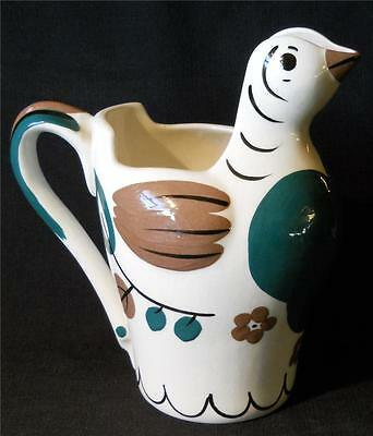 Vintage Cleminson Pottery Bird Dove Water Pitcher California Hand Painted