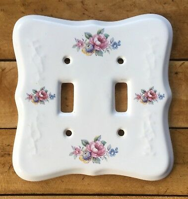 Vintage VB Athena Porcelain Double Light Switch Cover Red Blue Floral
