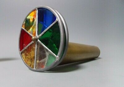 "Vintage 12"" Kaleidoscope Double Stained Glass Wheel Parlor Scope Brass End"