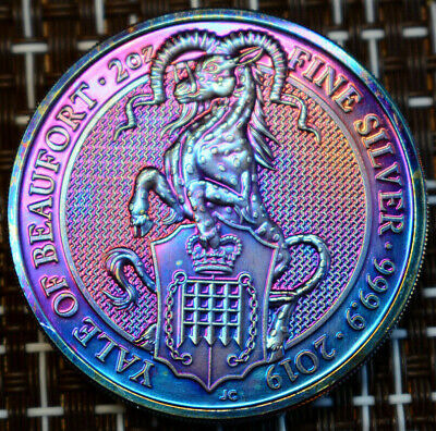 2019 2 oz Silver Queen's Beasts Yale of Beaufort Coin BU Rainbow Toned/ Tonining