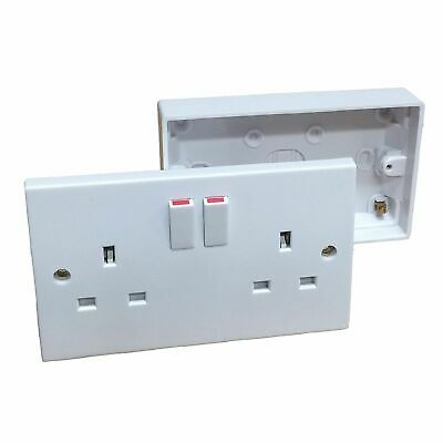 White 2 Gang Twin Double Switched Wall Socket + 25mm Surface Pattress Back Box