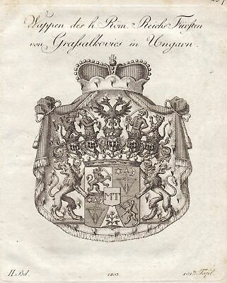 1803 Grassalkovich Ungarn Hungary Wappen coat of arms Kupferstich antique print