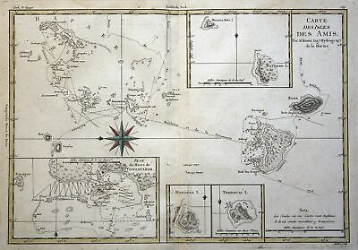 1780 Australia Cook Friendly Islands Polynesia map Kupferstich copper engraving