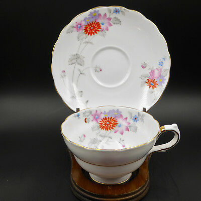 Grosvenor China Copelands Tea Cup Saucer A109 Wide Floral Hand Painted UK Vtg