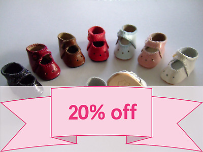 DISCOUNT 20% - BLEUETTE Doll Leather shoes - 3 Pairs - Size 40mm. 11 colors