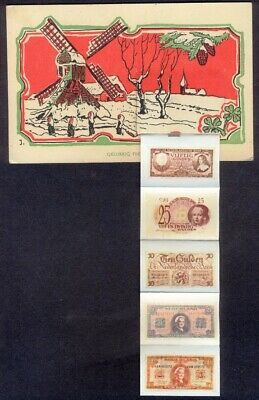 Dutch New Year Novelty Pull-Out: Six Banknotes. Vintage Postcard. Free Post