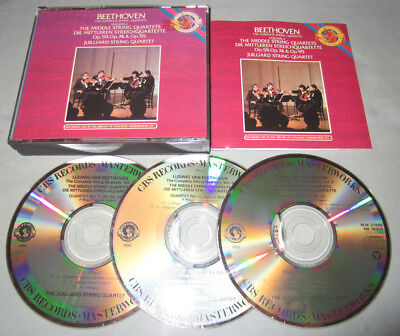 Beethoven The Middle String Quartets 1990 CBS Records Juilliard Music 3-CD Set