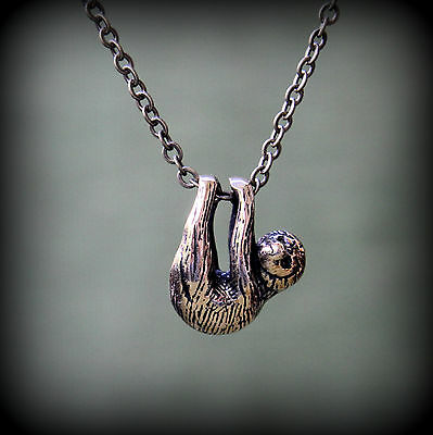 Baby Sloth Necklace Solid Bronze Tiny 3D Sloth Pendant Amazon Animal 318