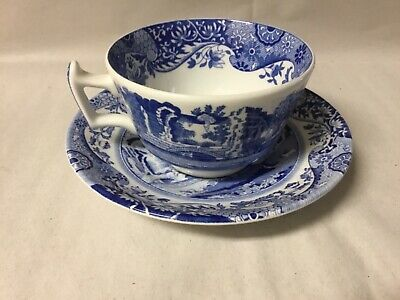 "Spode Blue Italian 2 3/8"" Footed Cup and Saucer Made in England - Pristine"