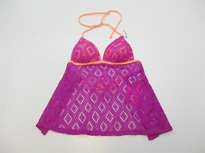 8856a1e87e new HULA HONEY S623 Women's Size S Halter Tie Crochet Purple Push-Up Tankini  Top