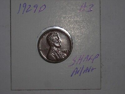 wheat penny 1929D LINCOLN CENT HIGH GRADE AU 1929-D LOT #3 VERY NICE LUSTER