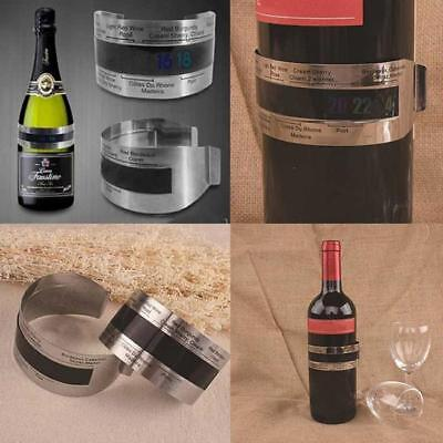 Stainless Wine Bottle Thermometer LCD Display Serving Bracelet Party Checker D