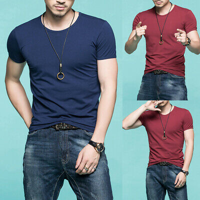 Men Fashion Short Sleeve Crew Neck Slim T-shirt Casual Loose Tops Plus Size