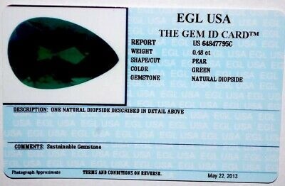 Egl Usa Tested & Certified Pear Green 0.48 Ct Natural Diopside