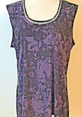 3a1f2b95dfe746 DANA BUCHMAN WOMEN Top S Small Sleeveless Tank Beaded Black Stretch ...
