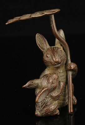 China Hand-carved Pure Red Copper Mother And Child Rabbit Desktop Ornaments