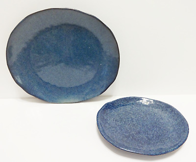 Tabletops Gallery Kala Oval Blue Large Serving Platter Tray & Oval Plate